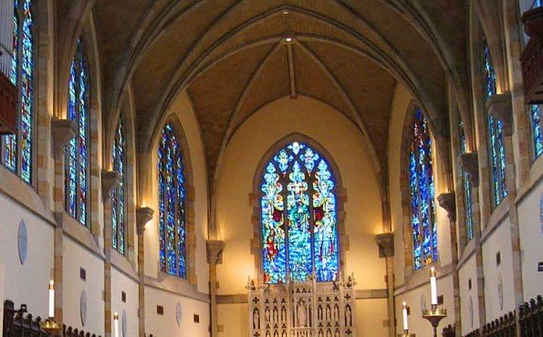 stained glass windows with blue an dred colored tiles