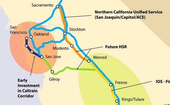 A map of the various segments of the California high-speed rail system (Photo - California High-Speed Rail Authority).