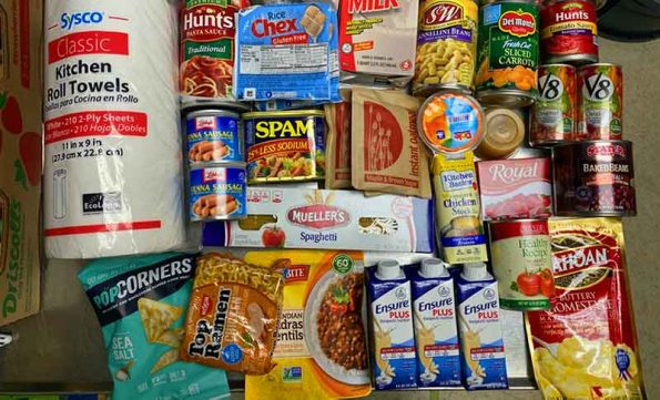assortment of perishables and canned food