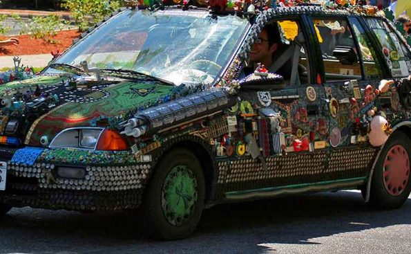 funky decorated car